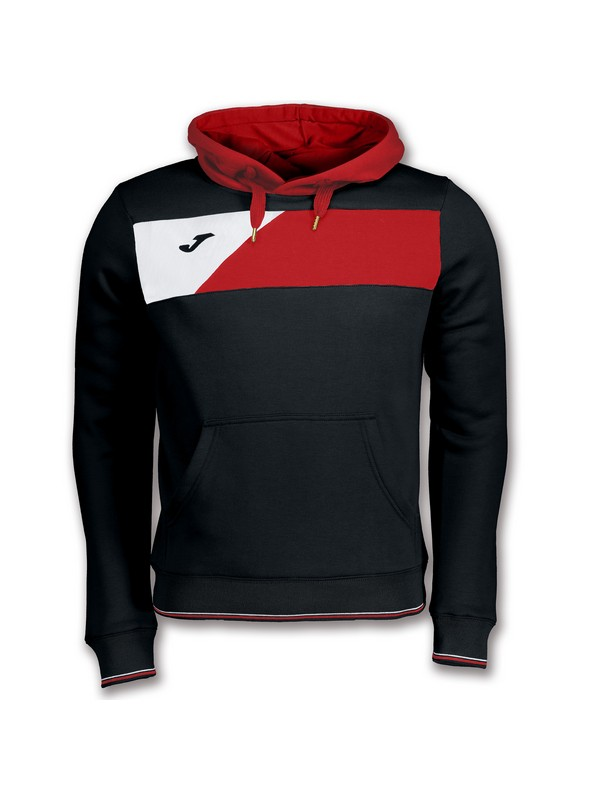 JOMA SWEATSHIRT CREW II HOODED BLACK-RED